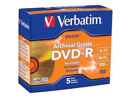 Verbatim 8x UltraLife Gold DVD-R Media (5-pack Jewel Cases), 96320, 10020890, DVD Media