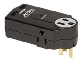 Accell Compact Travel Surge Protection (3) Outlets w  (2) USB 612 Joules, Black, D080B-011K, 32429207, Surge Suppressors