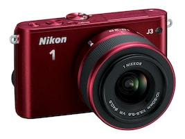 Nikon J3 Interchangable Lens Digital Camera, 14.2MP, Red with 10-30mm Lens, 27639, 15256447, Cameras - Digital