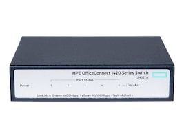 HPE OfficeConnect 1420 Desktop Mount Unmanaged Switch 1MB Flash 5xGbE 1xPSU, JH327A#ABA, 32084042, Network Switches
