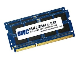 Other World 8GB PC3-10600 204-pin DDR3 SDRAM SODIMM Kit for Select iMac, Mac Mini, MacBook Pro Models, OWC1333DDR3S08S, 35037815, Memory