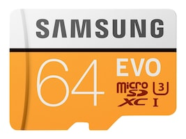 Samsung 64GB EVO MicroSDXC Card with SD Adapter, MB-MP64GA/AM, 33749510, Memory - Flash
