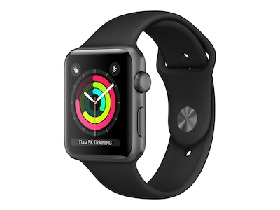 Apple Watch Series 3 GPS, 42mm Space Gray Aluminum Case, Black Sport Band, MQL12LL/A, 34575638, Wearable Technology - Apple