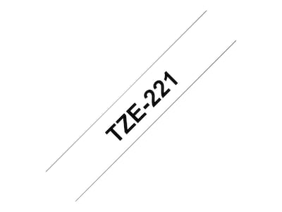 Brother 0.35 x 26.2' tze221 Black on White Tape, TZE221, 12529251, Paper, Labels & Other Print Media