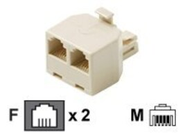 Steren Modular 4C Telephone T-Adapter, White, 300-024WH, 35257404, Premise Wiring Equipment