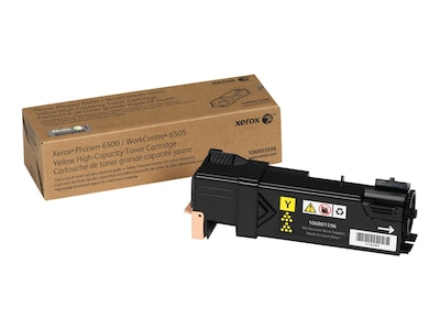 Xerox Phaser 6500 WorkCentre 6505, High Capacity Yellow Toner Cartridge (2,500 Pages), North America, EEA, 106R01596, 12487725, Toner and Imaging Components - OEM