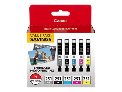 Canon CLI-251 CMYKGY 5-pack, 6513B011, 30811171, Ink Cartridges & Ink Refill Kits - OEM