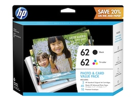 HP 62 Photo & Card Value Pack, K3W67AN#140, 21486994, Ink Cartridges & Ink Refill Kits - OEM