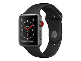 Apple Watch Series 3 GPS + Cellular, 42mm Space Gray Aluminum Case, Black Sport Band, MTGT2LL/A, 36141876, Wearable Technology - Apple Watch Series 1-3