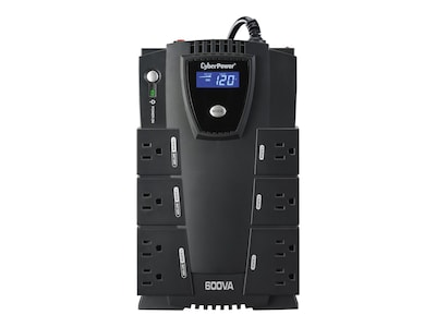 CyberPower 600VA 340W Intelligent LCD UPS, (8) Outlets with PowerPanel Software, CP600LCD, 7565961, Battery Backup/UPS