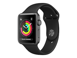 Apple Watch Series 3 GPS, 42mm Space Gray Aluminum Case, Black Sport Band, MTF32LL/A, 36141999, Wearable Technology - Apple Watch Series 1-3