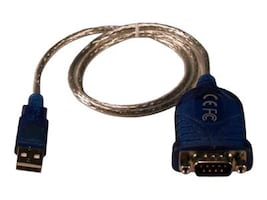 QVS Serial Adapter Cable, USB Type A (M) to DB-9 RS-232 (M), 2ft, UR-2000M2, 13504099, Cables