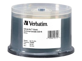Verbatim 52x 700MB CD-R Gold Archival Grade Media (50-pack Spindle), 96159, 7814613, CD Media