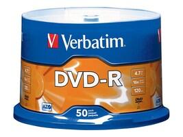 Verbatim 16x 4.7GB DVD-R Media (50-pack Spindle), 95101, 5781660, DVD Media