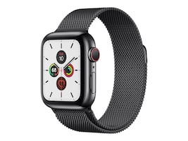 Apple Watch Series 5 GPS+Cellular, 40mm Black Stainless Steel Case with Black Sport Band - S M & M L, MWWW2LL/A, 37523657, Wearable Technology - Apple Watch Series 4-5