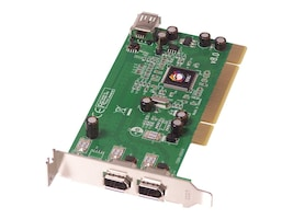 Siig Low Profile 1395 (FireWire) 3-Port (2 External and 1 Interna) Host Adapter, RoHS Compliant, LP-N21011-S8, 6868572, Controller Cards & I/O Boards