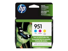 HP 951 (CR314FN) 3-pack Cyan Magenta Yellow Original Ink Cartridges, CR314FN#140, 12974339, Ink Cartridges & Ink Refill Kits - OEM