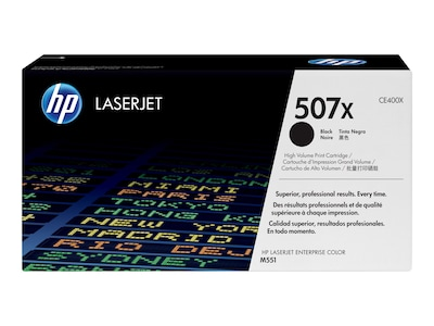 HP 507X (CE400X) High Yield Black Original LaserJet Toner Cartridge, CE400X, 13170164, Toner and Imaging Components - OEM
