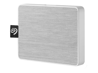 Seagate 1TB One Touch USB 3.0 Ultra Portable Solid State Drive - White, STJE1000402, 37579175, Solid State Drives - External