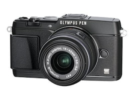 Olympus E-P5 PEN Mirrorless Digital Camera with 17mm f 1.8 Lens and VF-4 Viewfinder, Black, V204053BU000, 15751923, Cameras - Digital