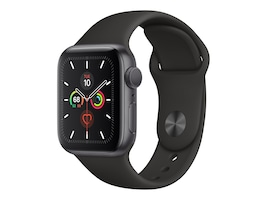 Apple Watch Series 5 GPS, 40mm Space Gray Aluminum Case with Black Sport Band - S M & M L, MWV82LL/A, 37523526, Wearable Technology - Apple Watch Series 4