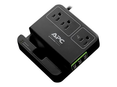 APC SurgeArrest Essential (3) Outlets w  (3) USB Charging Ports, Black, P3U3B, 17915442, Surge Suppressors