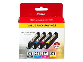 Canon CLI-271 Black, Cyan, Magenta,Yellow 4-Pack, 0390C005, 32492599, Ink Cartridges & Ink Refill Kits - OEM