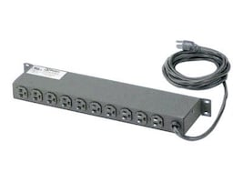 Panduit Horizontal Power Strip 1U 125V, 15A, 5-15P Input 10ft Cord (10) NEMA 5-15R Outlets, CMRPSH15, 12236643, Power Distribution Units