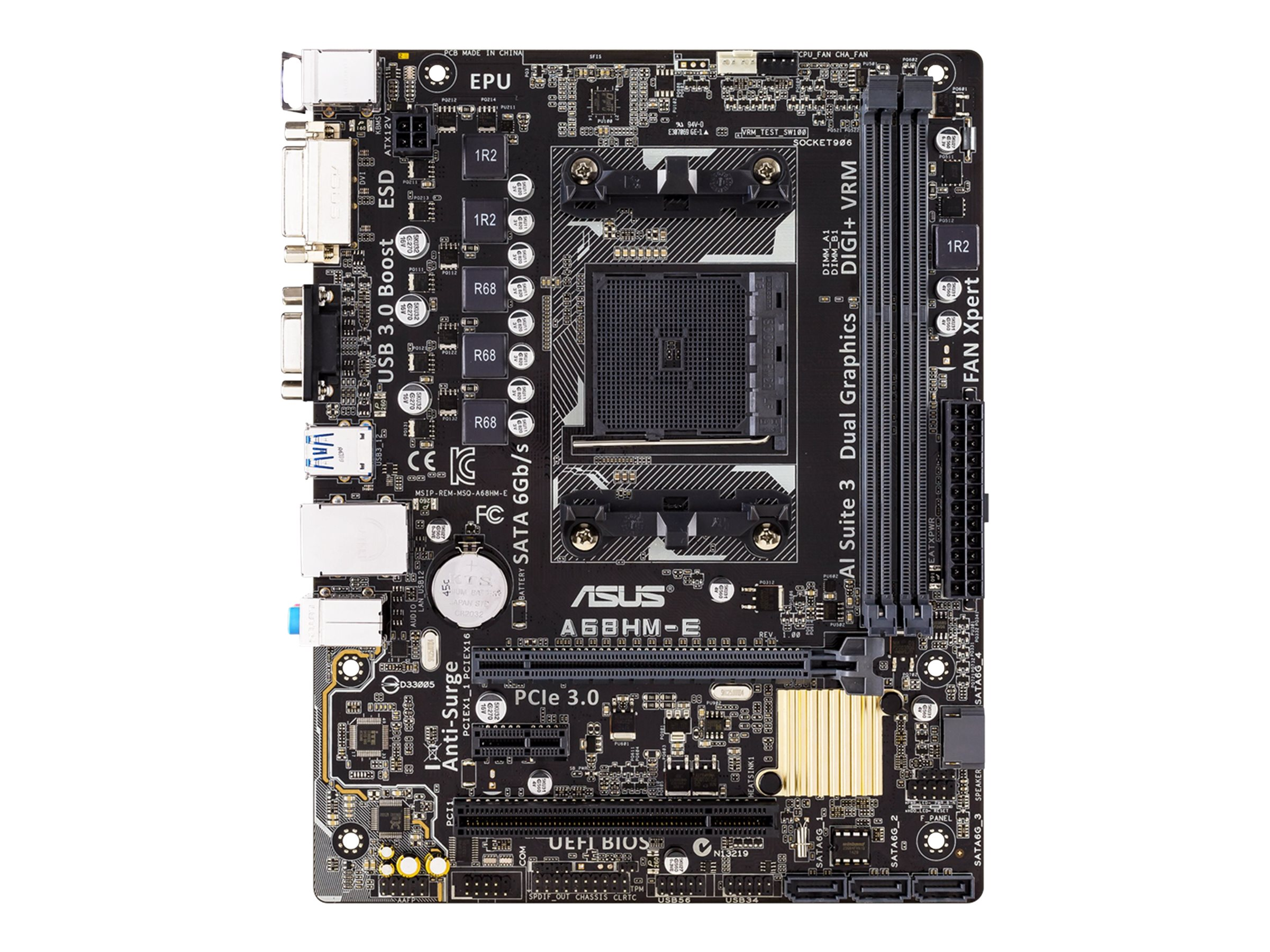 Asus Motherboard, mATX A68H FCH FM2+ Athlon- A-Series Max.32GB DDR3 4xSATA 2xPCIe GbE, A68HM-E, 18184178, Motherboards