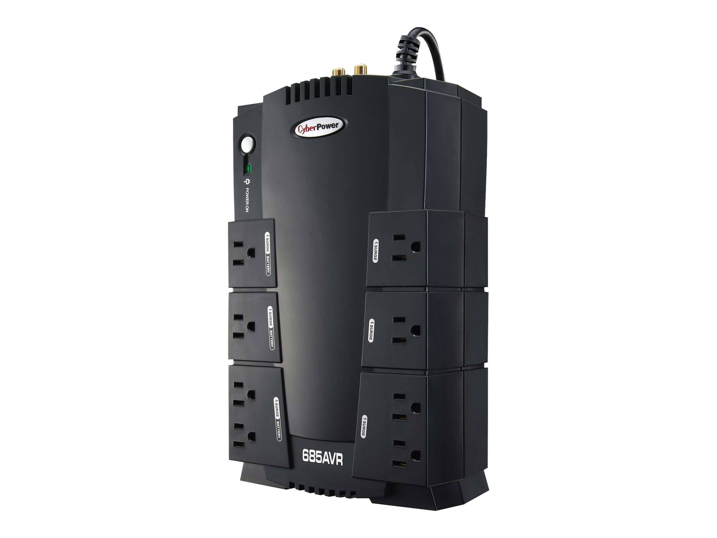 CyberPower 685VA 390W UPS AVR (8) Outlet RJ-11 RJ-45 Compact Design EMI RFI, CP685AVR, 6148428, Battery Backup/UPS