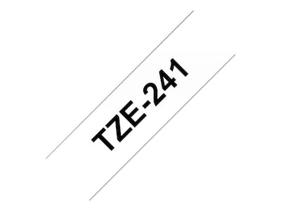 Brother 0.7 x 26.2' TZe241 Black on White Tape for P-Touch 8m, TZE-241, 12529286, Paper, Labels & Other Print Media