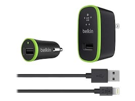 Belkin Charger Kit with Lightning to USB Cable, F8J031TT04-BLK, 15730268, Battery Chargers