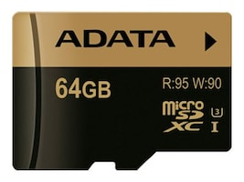 A-Data 64GB MicroSDXC UHS-I U3 Flash Memory Card with Adapter, Class 10, AUSDX64GXUI3-RA1, 32313360, Memory - Flash