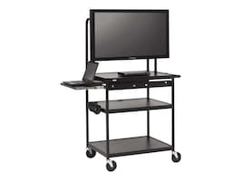 Bretford Manufacturing Wide Body LCD TV Cart for Monitors up to 75lbs with Shelf, With Electric, FP42UL-E5BK, 12973011, Computer Carts