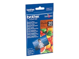 Brother 4 x 6 Glossy Paper (20-Sheets), BP71GP20, 9492646, Paper, Labels & Other Print Media
