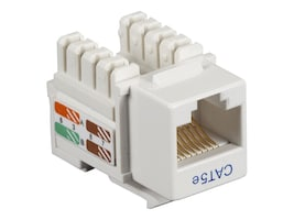 Black Box Cat5e Keystone Jack, White, 25-Pack, CAT5EJ-WH-25PAK, 10898150, Premise Wiring Equipment