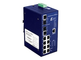B&B Electronics B&B Elinx EIRP600 DIN RM Managed Switch 32MB RAM 4MB Flash 8xFaE PoE 2xGbE 2xGbE SFP, EIRP610-2SFP-T, 16950086, Network Switches