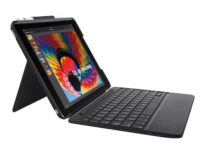 Logitech Slim Combo Case w  Detachable Backlit Bluetooth Keyboard for iPAd 5th 6th Gen, Black, 920-009040, 35999854, Keyboards & Keypads