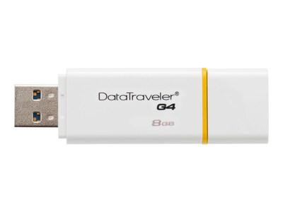 Kingston 8GB DataTraveler G4 USB 3.0 Flash Drive, Yellow, DTIG4/8GB, 16432490, Flash Drives