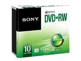 Sony 2x 4.7GB DVD+RW Media (10-pack Jewel Cases), 10DPW47SS, 15780943, DVD Media
