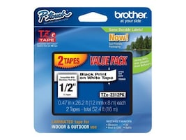 Brother 0.47 x 26.2' TZe231 Black on White Tapes for P-Touch 8m (2-pack), TZE-2312PK, 12529489, Paper, Labels & Other Print Media