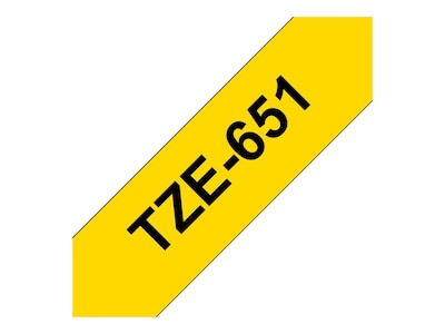 Brother 0.94 x 26.2' TZe651 Black on Yellow Tape, TZE-651, 12529403, Paper, Labels & Other Print Media