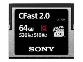 Sony 64GB G Series CFast 2.0 Memory Card, CAT-G64, 35033742, Memory