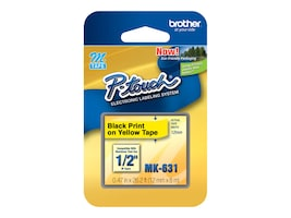 Brother 1 2 Black on Yellow Direct Thermal Tape for PT-65 Electronic Label Printer, MK-631, 5103949, Paper, Labels & Other Print Media