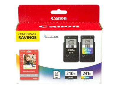Canon PG-240XL Pigment Black & CL-241XL Color Ink Cartridges w   4 x 6 GP-502 Photo Paper (50 Sheets), 5206B005, 13688625, Ink Cartridges & Ink Refill Kits - OEM