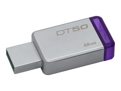 Kingston 8GB DataTraveler 50 USB 3.0 Flash Drive, Purple, DT50/8GB, 32476273, Flash Drives