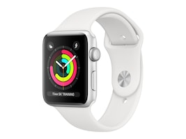 Apple Watch Series 3 GPS, 42mm Silver Aluminum Case, White Sport Band, MTF22LL/A, 36141972, Wearable Technology - Apple Watch Series 1-3