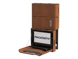 Proximity Classic Series Wall-Mounted Workstation with Left Swivel, Tilt, Med Storage, Wild Cherry, CXT-6011-7054, 33055374, Wall Stations