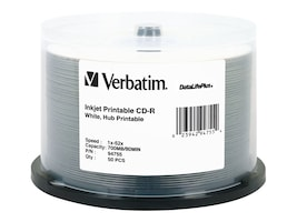 Verbatim 52x 700MB 80min. DataLifePlus White Hub Inkjet Printavle CD-R Media (50-Pack Spindle), 94755, 4899797, CD Media