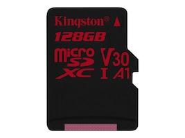 Kingston 128GB Canvas React MicroSDXC UHS-I Flash Memory Card, Class 10, SDCR/128GBSP, 35243230, Memory - Flash